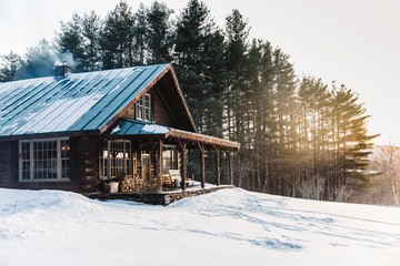 Log Cabin in the Woods Vermont