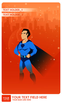 Male superhero watch over a city. cartoon or comic characters wearing tight-fitting costumes and capes Colorful flat vector illustration. Poster template type.