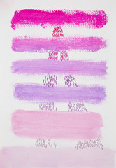 Abstract pink and purple stripes joined together by sewn embroidery into paper.