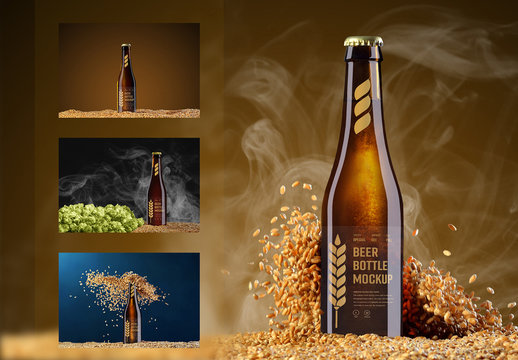 4 Beer Bottle Mockups with Hops, Grain, and Smoke Elements