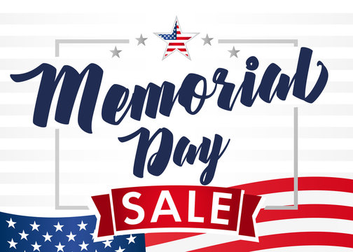 Memorial Day sale banner. Remember and honor. Hand drawn text with stars for memorial day in USA. Calligraphic design for sale banner or poster vector illustration