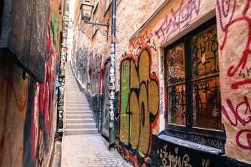 The picture from the narrow traditional streets of Stockholm. Walking inside the Gamla Stan.
