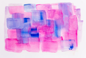 Watercolour painting of blue and pink brush strokes