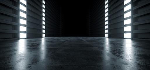 Futuristic Modern Sci Fi Concrete Hallway Corridor Tunnel Warehouse Underground Garage Grunge Dark Empty Reflection Showcase Stage White Blue Glow Spaceship 3D Rendering Wall mural