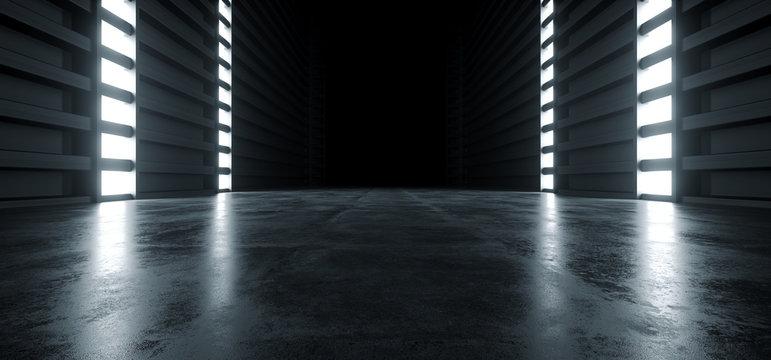 Futuristic Modern Sci Fi Concrete Hallway Corridor Tunnel Warehouse Underground Garage Grunge Dark Empty Reflection Showcase Stage White Blue Glow Spaceship 3D Rendering