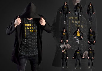 11 T-Shirt Mockups of a Young Adult in a Black Hooded Sweatshirt