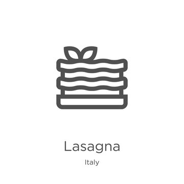 lasagna icon vector from italy collection. Thin line lasagna outline icon vector illustration. Outline, thin line lasagna icon for website design and mobile, app development.