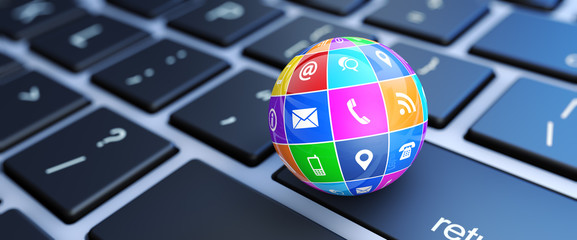 Contact Us Icons Globe Website Header