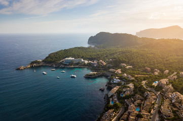 Aerial view of Cala Fornells in Mallorca, Spain