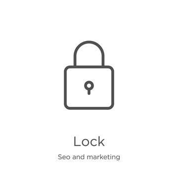lock icon vector from seo and marketing collection. Thin line lock outline icon vector illustration. Outline, thin line lock icon for website design and mobile, app development.