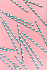 Sprial Blue Straws on Pink