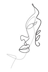 Foto op Plexiglas One Line Art Female Face Portrait One Continuous Line Vector Graphic