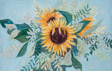 Pastel drawing of bouquet of sunflowers