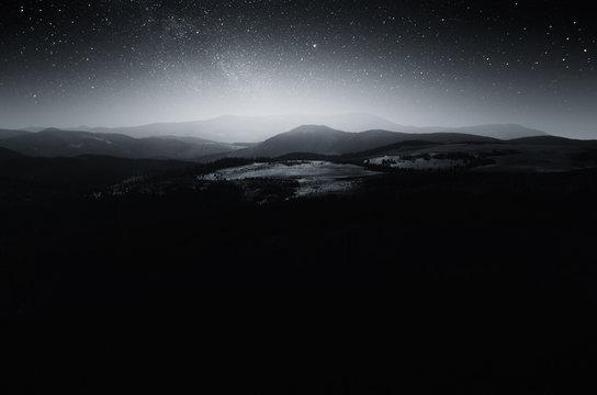 Misty mountain night