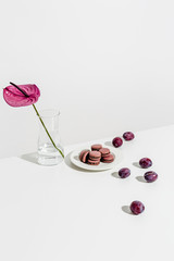 Macaroons, plums and vase on table