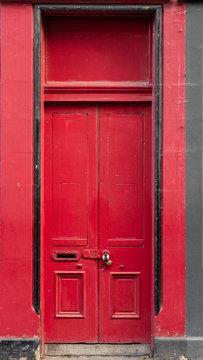 Exterior view of red door