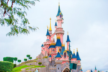 Wonderful magic princess castle at fairy-tale park