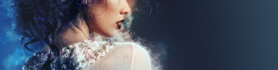 Profile cropped image part of gorgeous young woman face bright make-up lipstick image with digital art effects, horizontal image with copy space for text advertisement on blue grey background