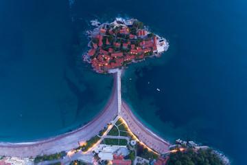 aerial view of Sveti Stefan island in Budva, Montenegro Fototapete