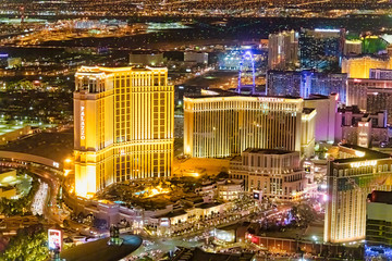 Poster Las Vegas LAS VEGAS, NV - JUNE 29, 2018: Aerial night view of main city Casinos. Las Vegas is known as the Sin City, City of Lights, Gambling Capital of the World