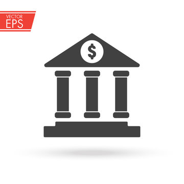 Bank building icon. Currency symbol. Money sign. Dollar cash sticker. Payment concept. Shop and market purchase emblem. Banking pictogram. Business success design. Financial transaction vector image.