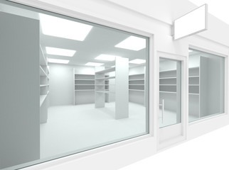 Empty new shop interior with shelving and clean signboard copy space, mock up design store interior, 3d render illustration. Fotomurales