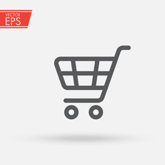 Supermarket shopping cart. Fast delivery symbol. Sale buy business icon. Purchase market commercial pictogram. App Shopping Logo. Universal template logo for business, shopping, trading platform.