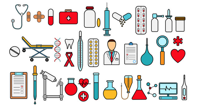 Medical pharmaceutical big set of medical items, equipment, items of icons on a white background: tablets thermometers capsules flasks medications first aid kit heart microscope. Vector illustration