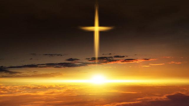 Heavenly Cross Religion Symbol Shape Dramatic Nature Background Glowing Cross