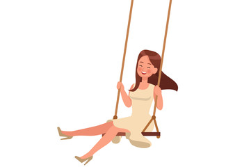 Happy girl playing swing on white background character vector design.