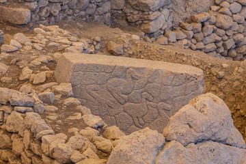 """Gobekli Tepe Turkish for """"Potbelly Hill"""", is an archaeological site in the Southeastern Anatolia. 12 thousand years ago. Gobeklitepe archaeological site Sanliurfa/Turkey."""