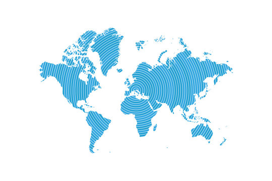 Abstract World Map in motion. Flat vector illustration EPS 10
