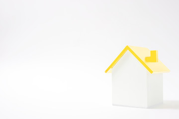 Simple house material and white background.  Shiny house.  シンプルな家素材と白色背景 ピカピカな家