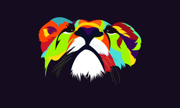 lion head vector colorfull style