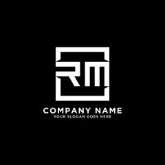 RM initial logo design, square letter, clean and clever vector