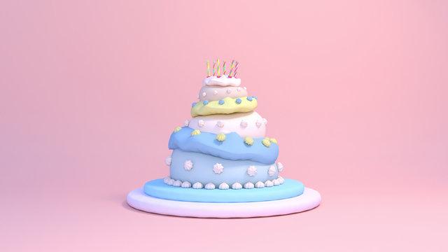 3d rendering three tier birthday cake on pink background.