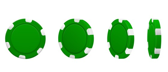 Set of green poker chips in different position isolated on white background. Vector illustration.