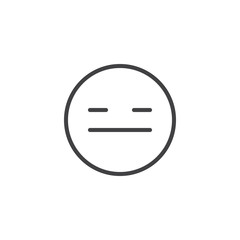 Expressionless Emoji face line icon. linear style sign for mobile concept and web design. Pensive face emoticon outline vector icon. Symbol, logo illustration. Vector graphics