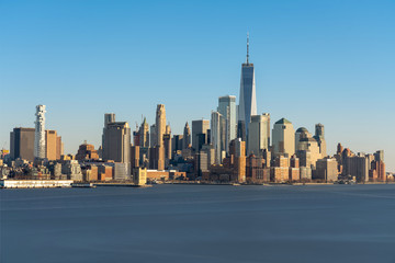 Fototapete - Scene of New york cityscape river side which location is lower manhattan which can see One world trade conter, USA, Taking from New Jersey
