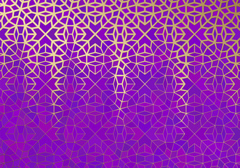 Abstract background with islamic ornament, arabic geometric texture. Golden lined tiled motif.