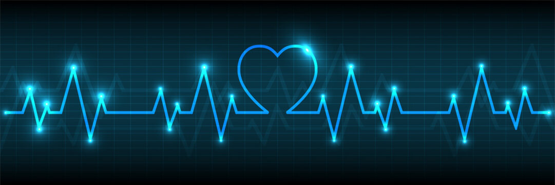 Blue Heart pulse monitor with signal.Vector tech line wave
