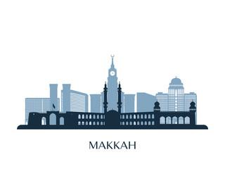 Makkah skyline, monochrome silhouette. Vector illustration.