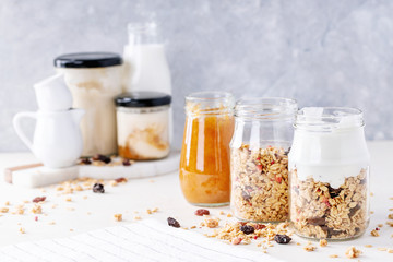 Granola breakfast in glass jars