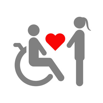 Love between healthy woman and disabled man in wheelchair. Vector illustration.