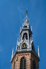 Bell tower of the Sint Jozef cathedral in the inner city of Gronnigen, Netherlands