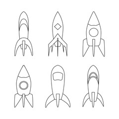 Set of Black-white Sketch Rocket ship