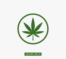 Cannabis Marijuana Leaf Icon Vector Illustration