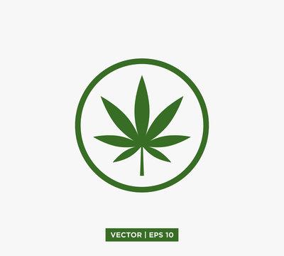 Cannabis Marijuana Leaf Icon Vector Illustration