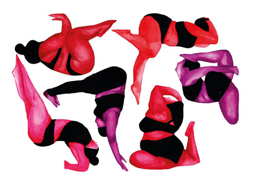 Red, pink and purple aquarelle illustration of five women in doing yoga