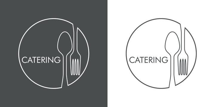Logotipo con texto CATERING con cubiertos en círculo lineal en gris y blanco